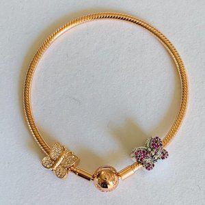 Pandora Rose Gold Bracelet 1 Silver 1 RG Butterfly